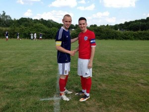 Scotland's Dave Black and England's Tom Cheeseman, both from IFA league winners Livingston GS, captained the sides in Friday's international